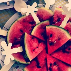 Watermelon lollypops