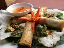 Spring rolls with 7 ingredients sauce at Morning Glory, Hoi an, Vietnam
